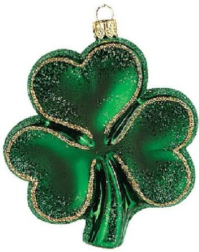 Irish Shamrock Polish Glass Christmas Ornament