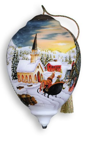 Town Square Hand Painted Glass Ornament