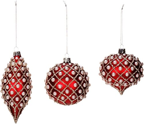 3 Mark Roberts Red with Beaded Pearl Like Accents Glass Christmas Ornament