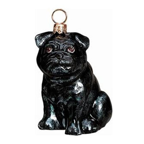 Black Pug Glass Christmas Ornament