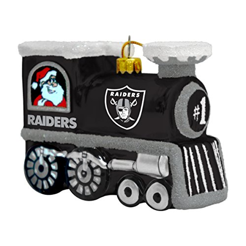 NFL Oakland Raiders Blown Glass Train Ornament