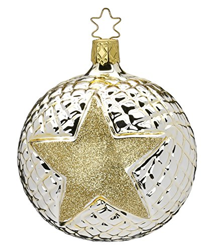 Ball 6 cm, Flashy Star, caramel shiny, #20065T160, by Inge-Glas of Germany