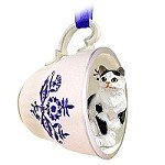 Black & White Shorthaired Tabby Cat Tea Cup Blue Ornament