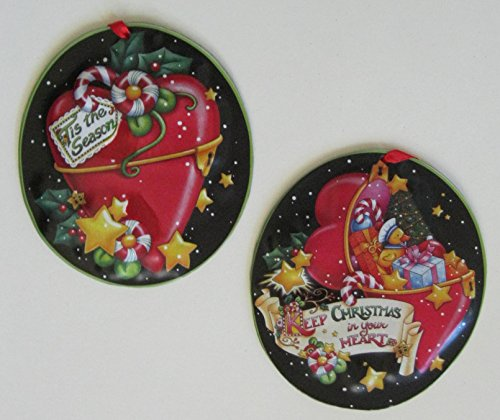 Mary Engelbreit signed Oval Heart Christmas Ornaments PAIR