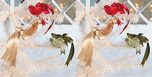 Bethany Lowe Ribbon Bird Ornaments, 3 Colors, 2 Sets of Each
