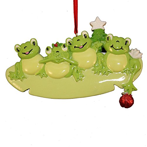 Frog Pad Family of 4 Personalized Christmas Tree Ornament