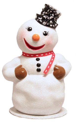 Ino Schaller Glitter Snowman with Top Hat German Paper Mache Candy Container