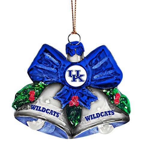 NCAA Kentucky Wildcats Glitter Bells Ornament, Green, 3″ x 3″