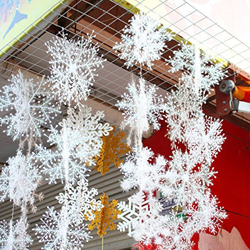CYNDIE Hot Sale New 15 30pcs Snowflake Snow Flake Xmas Christmas Tree Party Ornaments Decoration 30pcs
