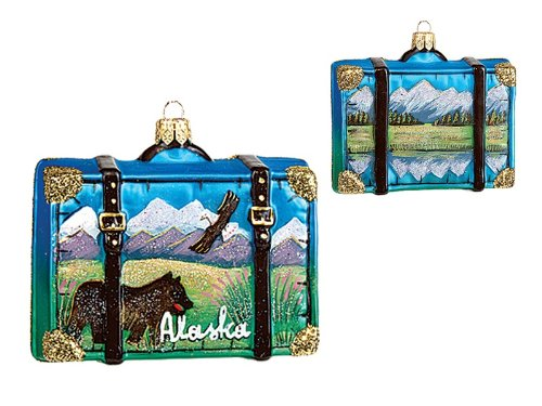Alaska Travel Suitcase Polish Blown Glass Christmas Ornament Tree Decoration