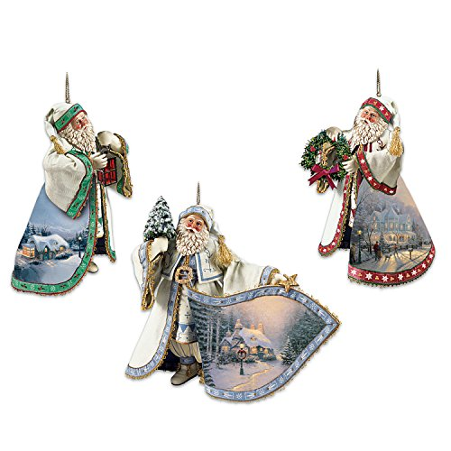 Thomas Kinkade Santa Claus Heirloom Christmas Ornaments with Artwork: Set of 3 by The Ashton-Drake Galleries