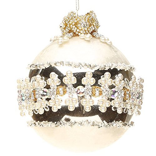 Jeweled Banded Glass Ornament 5 inch 36-43982 Kings Jewels Collection