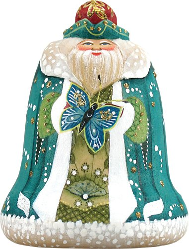 G.DEBREKHT / RUSSIAN GIFT Santa With Butterfly Ornament – Russian Hand Crafted Hand Painted Folk Art 623231-GDB