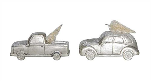 Christmas Village Resin Cars with Tree Figures Ornaments White Color Set of 2