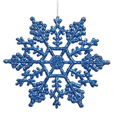 Vickerman Blue Glitter Snowflake with 24 Per PVC Box, 4-Inch