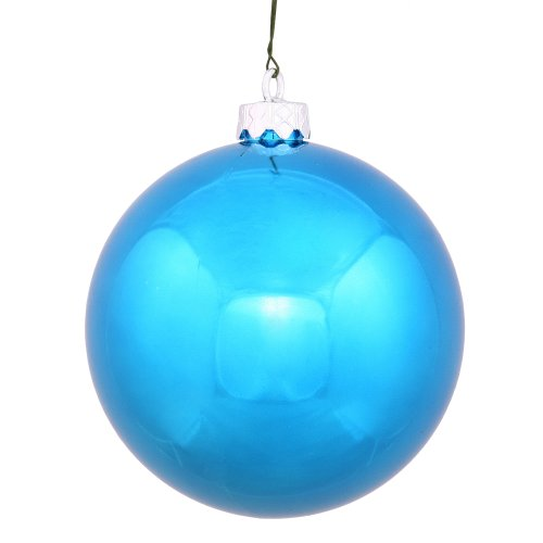 Vickerman Drilled UV Shiny Ball Ornaments, 6-Inch, Turquoise, 4-Pack