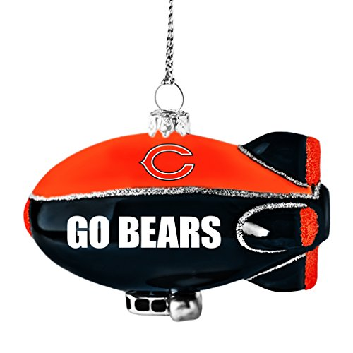 NFL Chicago Bears Glitter Blimp Ornament, Silver, 3″ x 2.25″