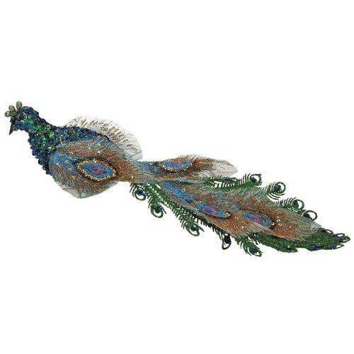 14″ Regal Peacock Sparkling Blue and Green Closed-Tail Bird Clip-On Christmas Ornament