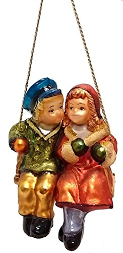 Couple Sitting on Swing Polish Glass Christmas Ornament Tree Decoration