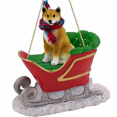 Shiba Inu Sleigh Dog Christmas Ornament