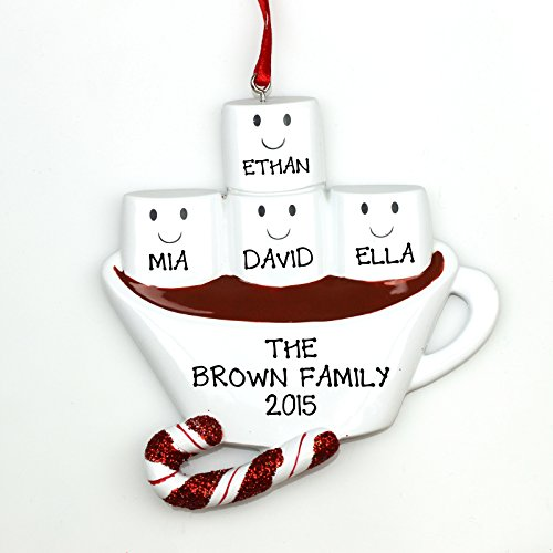 Personalized Christmas Ornament HOT CHOCOLATE FAMILY WITH 2 KIDS