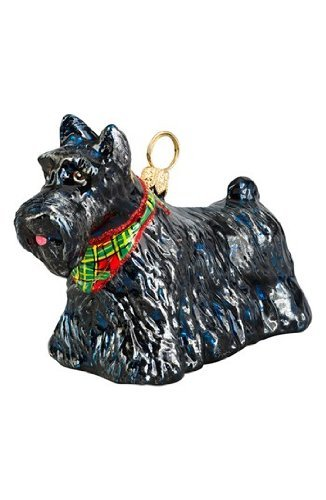 Scottish Terrier with Bandana Standing Dog Polish Blown Glass Christmas Ornament