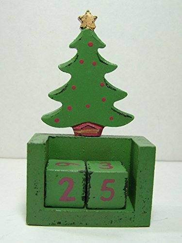 New 5″ Wood Mini Christmas Tree Countdown Advent Calendar Holiday Figurine Dice For The Day