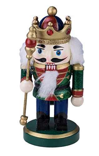 Chubby King Nutcracker Decoration Figure with Crown, Boots, & Scepter – 6.25″ Green, Blue, Red, White, Black, Gold
