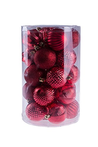 Red Decorative Christmas Shatterproof Orbs and Ornaments – Assorted 25 Pack Up to 60mm