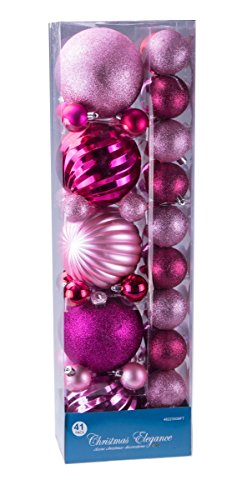 Assorted Christmas Light Pink Decorative Orbs and Ornaments – 41 Pack