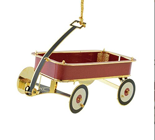 New 24KT Gold Finished 3D Little Red Wagon Christmas Tree Ornament