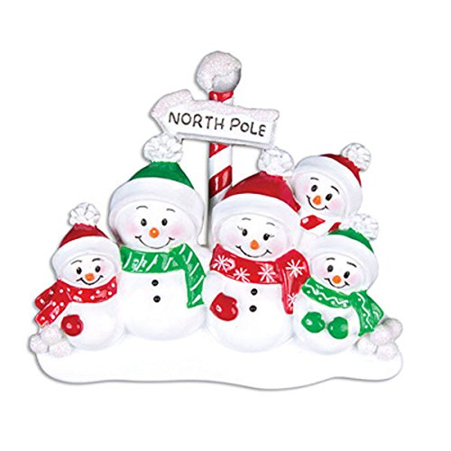 North Pole Family of 5 Personalized Christmas Ornament Or967-5