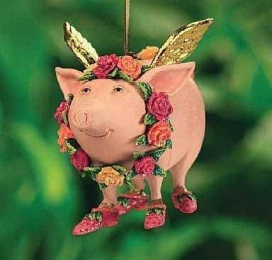 4″ Patience Brewster Krinkles Rose Flying Pig Christmas Ornament