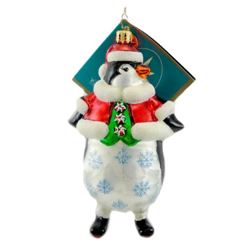 Christopher Radko EMPERORS NEW THREADS Blown Glass Ornament Penquin Santa