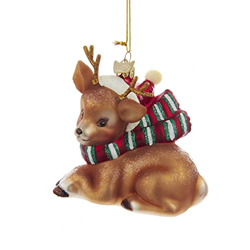 Kurt Adler 4″ Noble Gems Glass Brown Deer Ornament