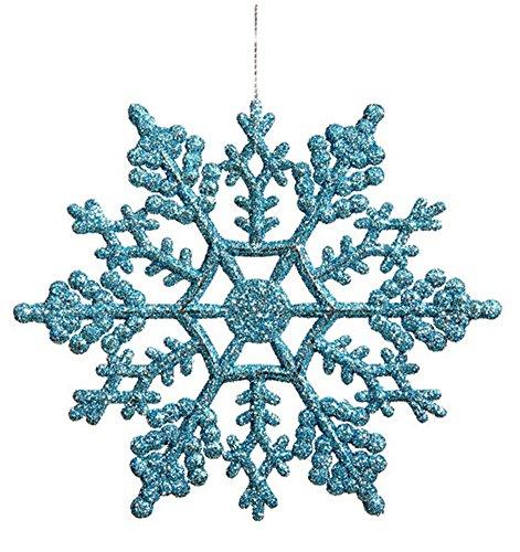 Vickerman Turquoise Glitter Snowflake with 24 Per PVC Box, 4-Inch