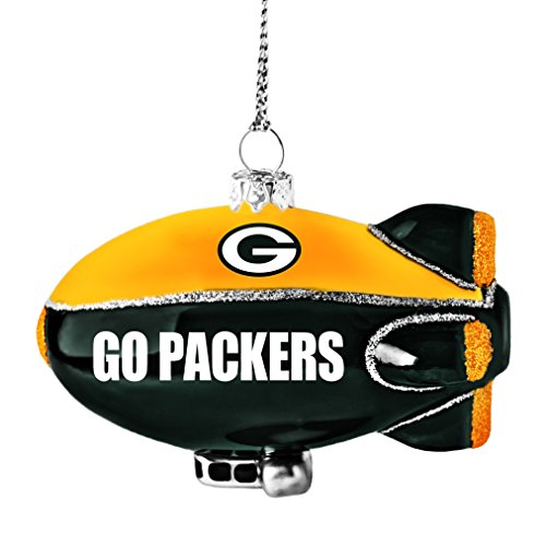 NFL Green Bay Packers Glitter Blimp Ornament, Silver, 3″ x 2.25″