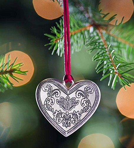 Solid Pewter Christmas Ornament, in Heart