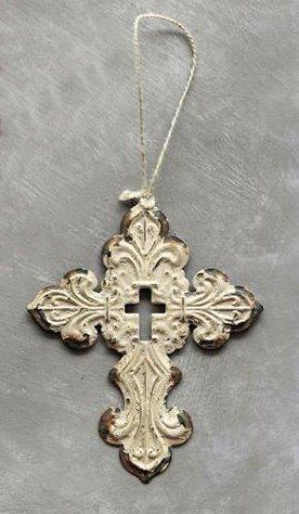 Rustic Whitewash Iron Filigree Holy Cross Hanging Christmas Tree Ornament