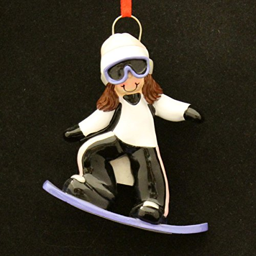 8347 Snowboard Girl Brunette Hand Personalized Christmas Ornament