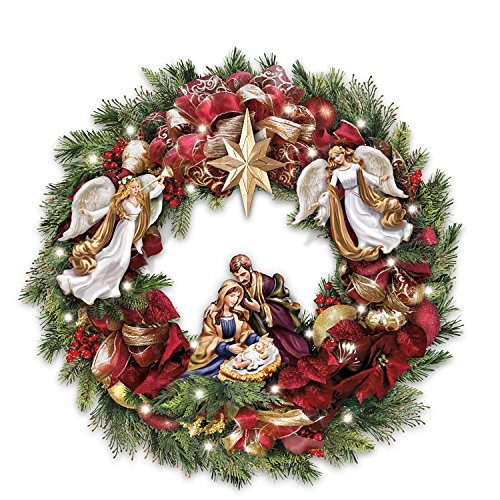 Thomas Kinkade Illuminated Nativity Wreath With Sculpted Nativity and Timer by The Bradford Exchange