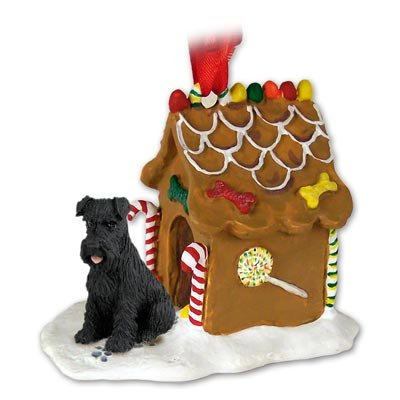 Black Schnauzer Gingerbread House Christmas Ornament New