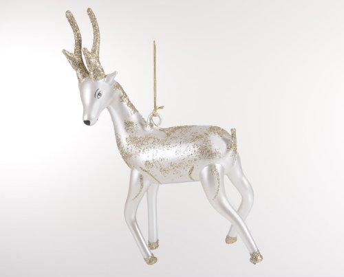 De Carlini White Deer Italian Mouthblown Glass Christmas Ornament