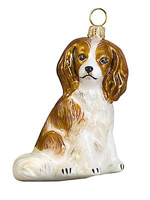 Blenheim Cavalier King Charles Spaniel Dog Polish Glass Christmas Ornament