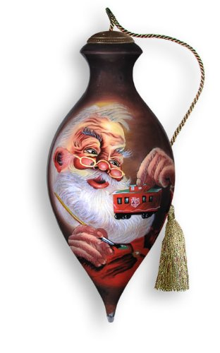Ne'Qwa Art North Pole Express – Glass Ornament Hand-Painted Reverse Painting Distinctive 831-NEQ