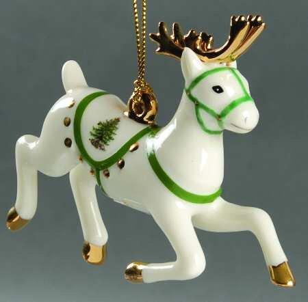 Spode Reindeer Christmas Tree Holiday Ornament