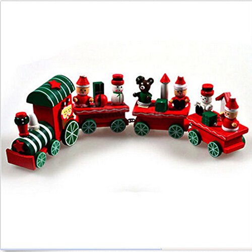 CYNDIE Hot Sale New New 4 Piece Cute Wood Christmas Xmas Train for Ornament Decoration Decor Gift Best Price Gift