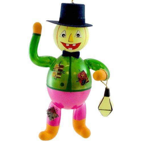 De Carlini PUMPKIN SCARECROW W/LANTERN Blown Glass Ornament Halloween OM4333