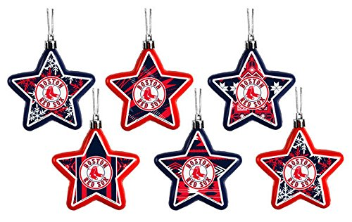 Boston Red Sox MLB Set of 6 Shatterproof Star Holiday Christmas Ornaments