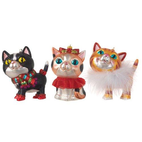 RAZ Imports – 4.5″ Cat Ornaments – Set of 3